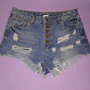 Litz button up  ripped denim shorts